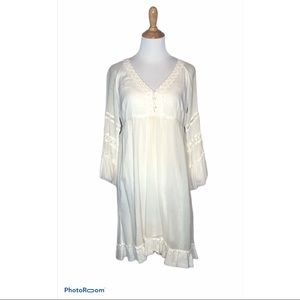 Vintage Joie Cream Gauzy Lace Embroidered Dress m